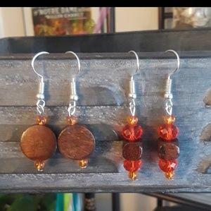 Wood earring set. silver